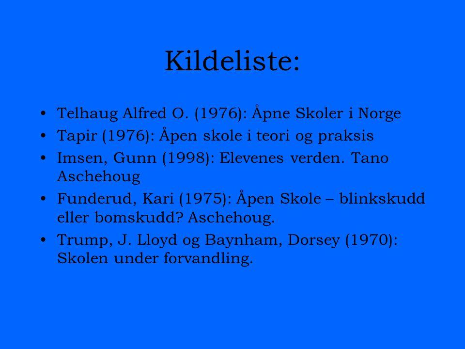 Kildeliste: Telhaug Alfred O. (1976): Åpne Skoler i Norge