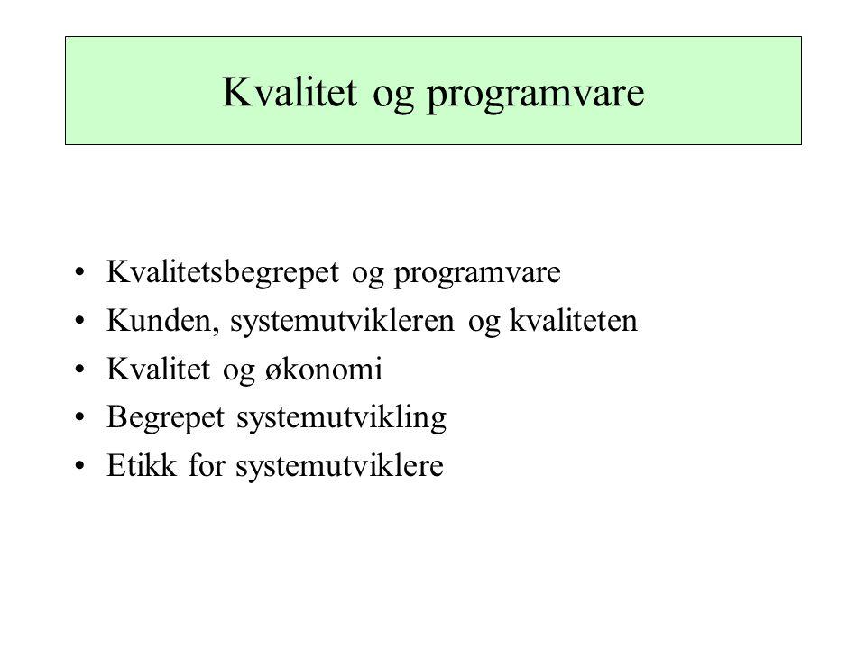 Kvalitet og programvare