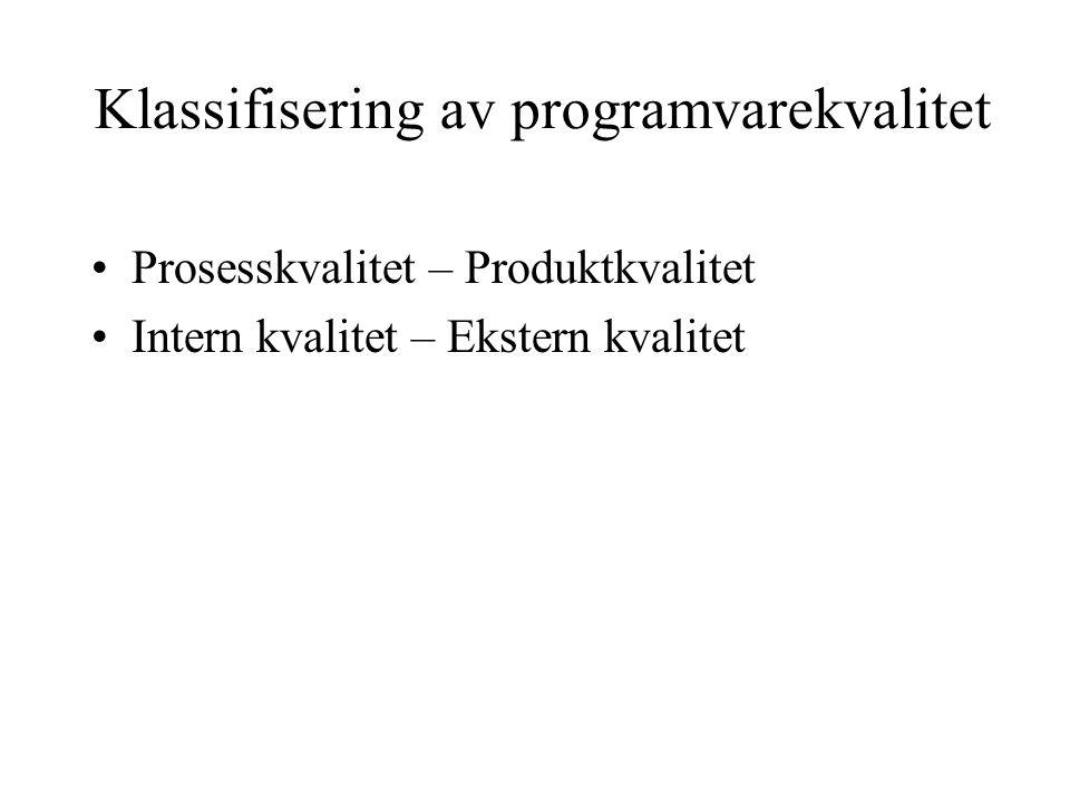 Klassifisering av programvarekvalitet