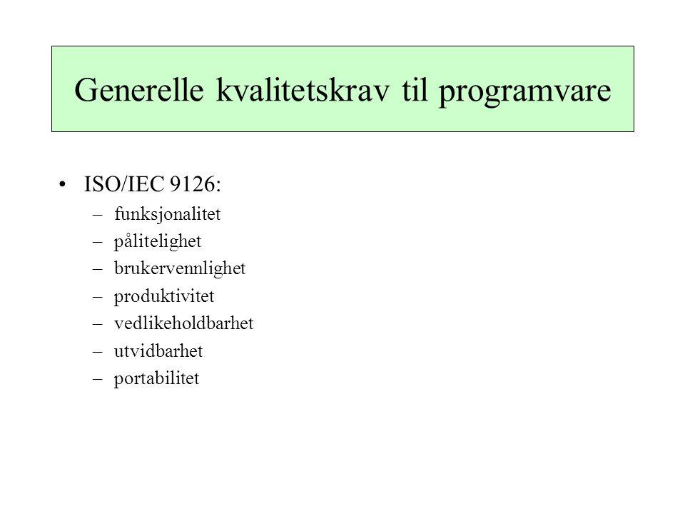 Generelle kvalitetskrav til programvare