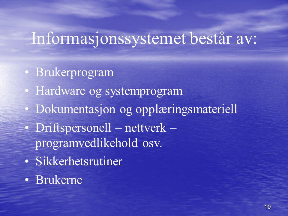 Informasjonssystemet består av: