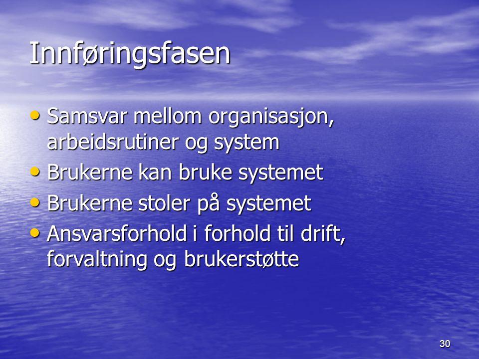 Innføringsfasen Samsvar mellom organisasjon, arbeidsrutiner og system