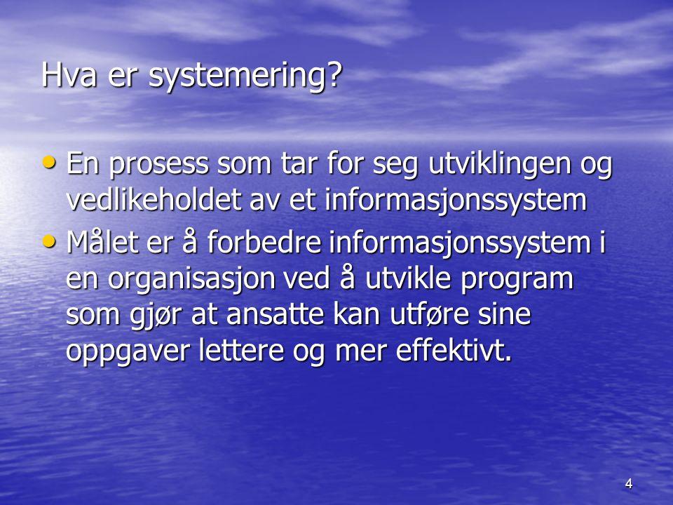 Hva er systemering En prosess som tar for seg utviklingen og vedlikeholdet av et informasjonssystem.