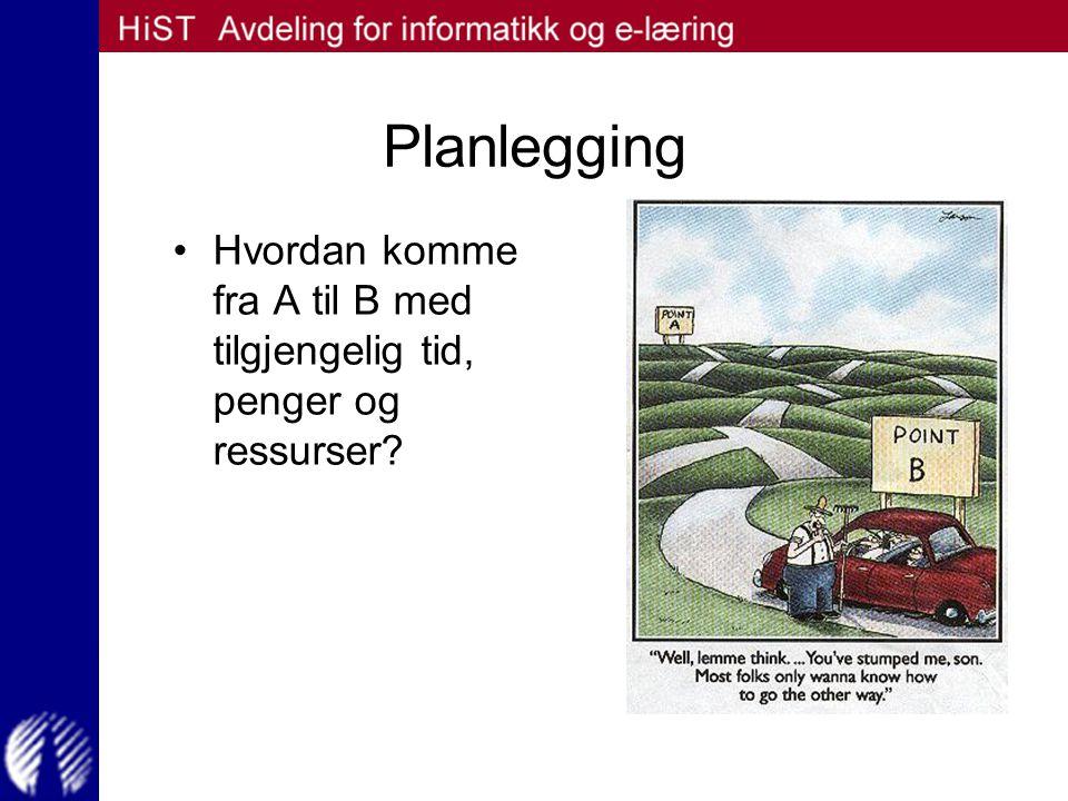 Planlegging Hvordan komme fra A til B med tilgjengelig tid, penger og ressurser