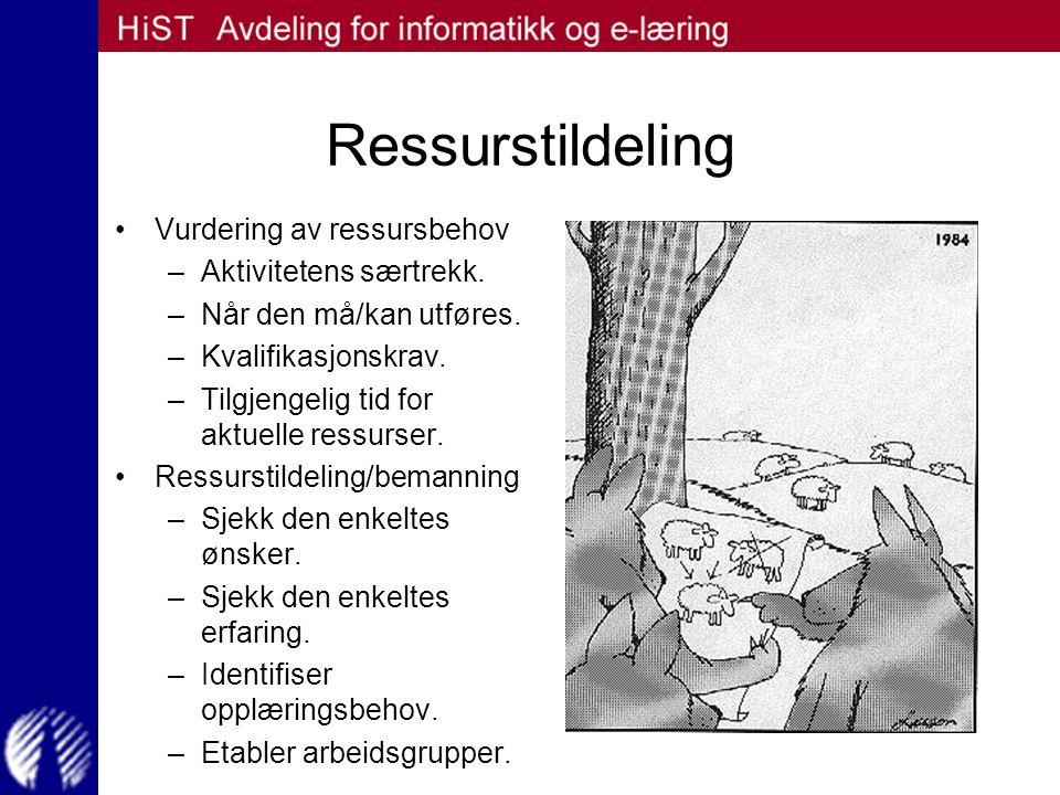 Ressurstildeling Vurdering av ressursbehov Aktivitetens særtrekk.
