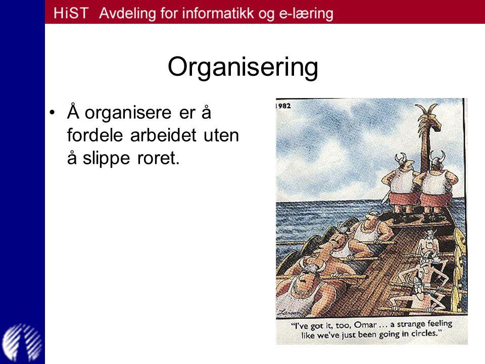 Organisering Å organisere er å fordele arbeidet uten å slippe roret.