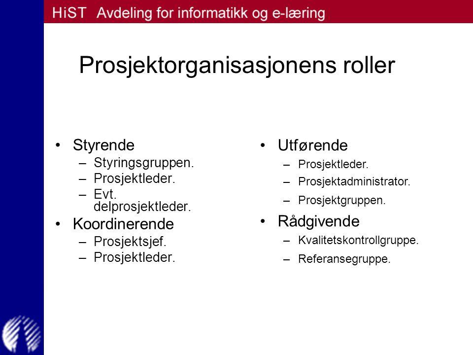 Prosjektorganisasjonens roller
