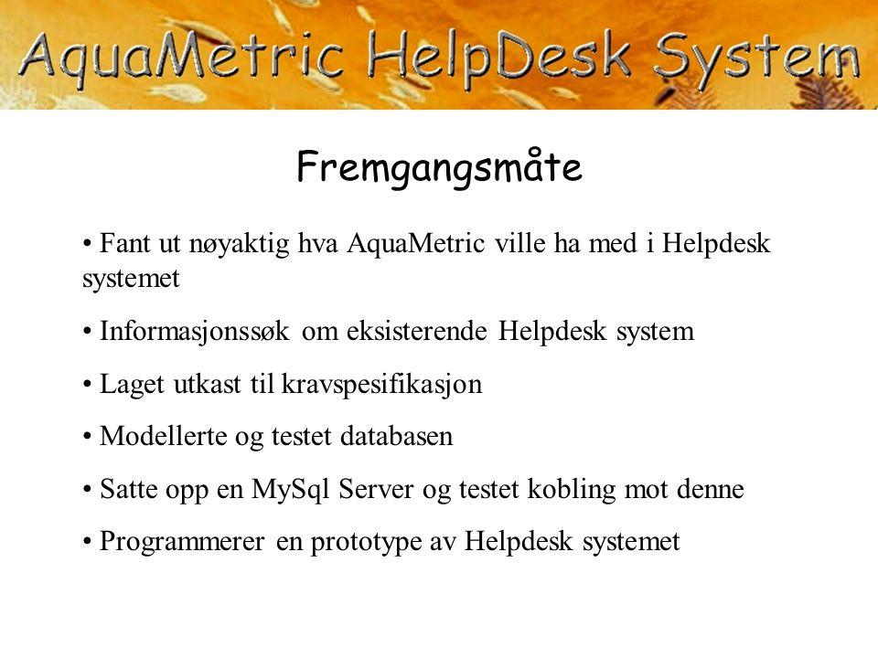 Fremgangsmåte Fant ut nøyaktig hva AquaMetric ville ha med i Helpdesk systemet. Informasjonssøk om eksisterende Helpdesk system.