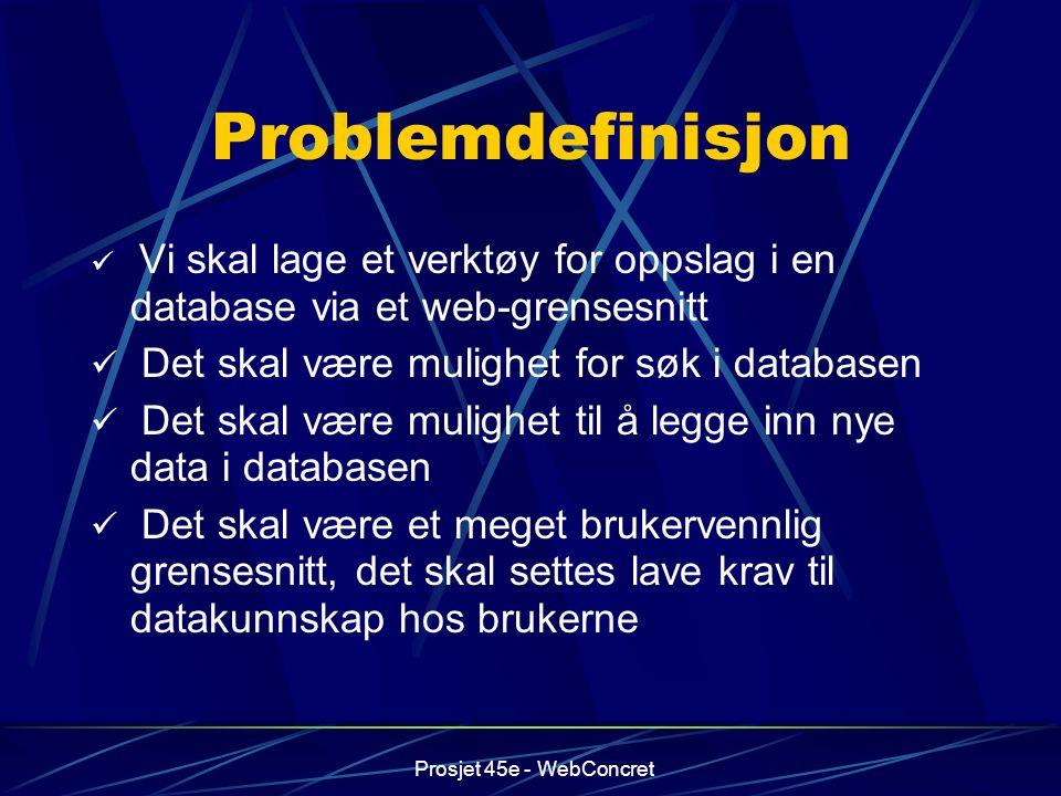 Problemdefinisjon Det skal være mulighet for søk i databasen