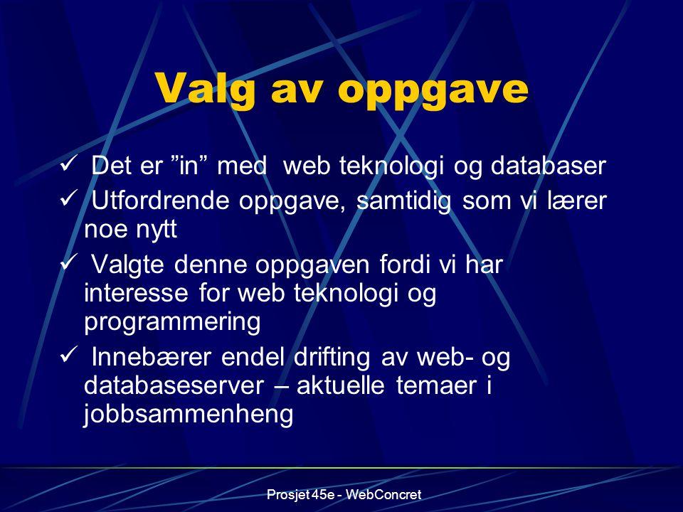 Valg av oppgave Det er in med web teknologi og databaser