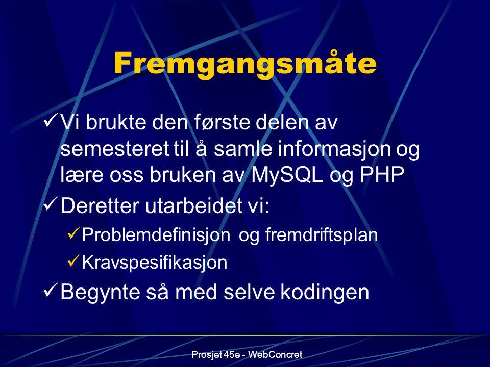 Fremgangsmåte Vi brukte den første delen av semesteret til å samle informasjon og lære oss bruken av MySQL og PHP.