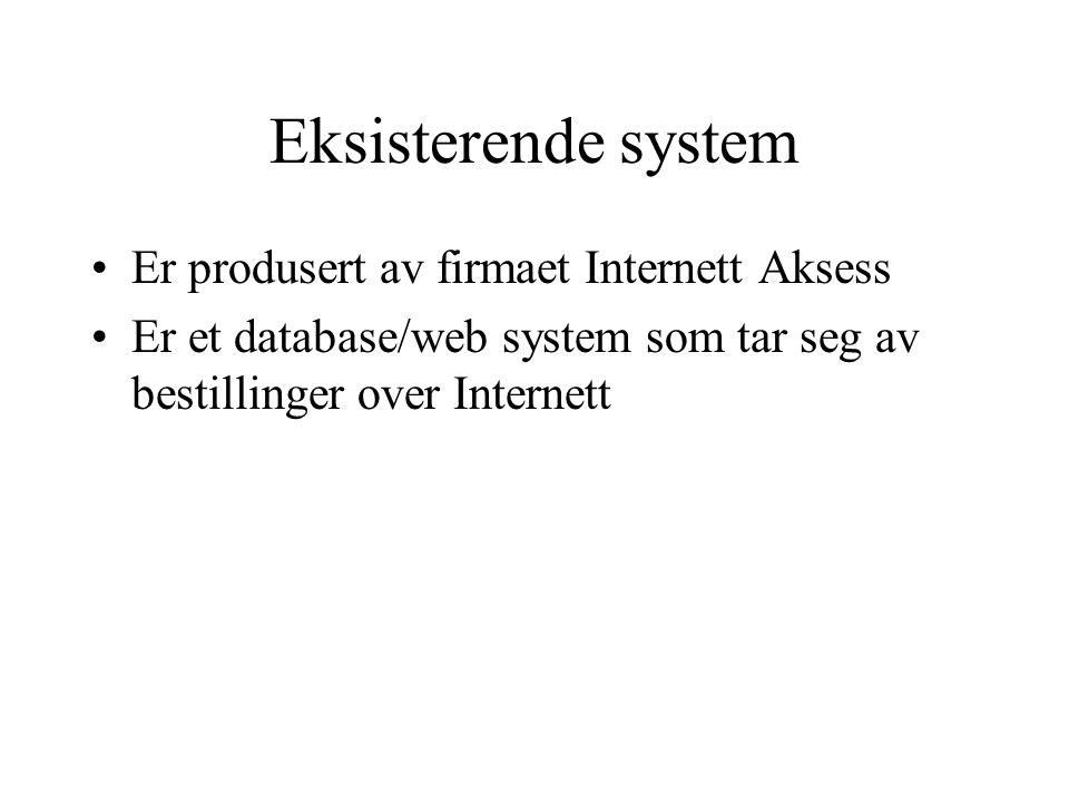 Eksisterende system Er produsert av firmaet Internett Aksess
