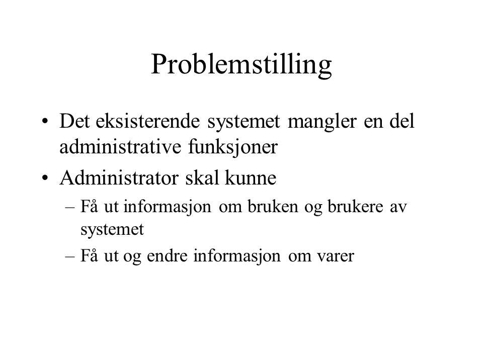 Problemstilling Det eksisterende systemet mangler en del administrative funksjoner. Administrator skal kunne.