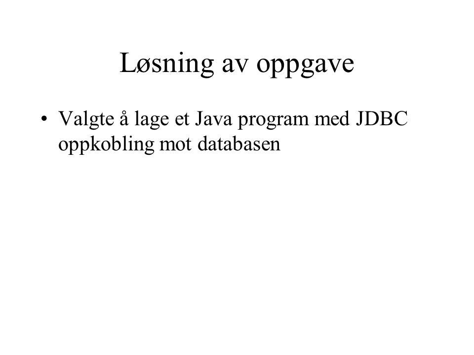 Løsning av oppgave Valgte å lage et Java program med JDBC oppkobling mot databasen