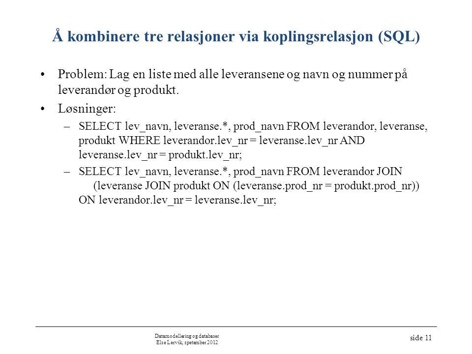 Å kombinere tre relasjoner via koplingsrelasjon (SQL)