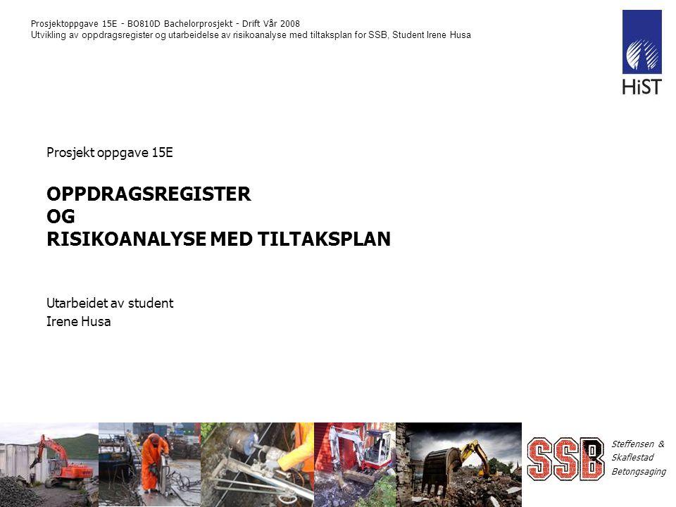 Prosjekt oppgave 15E OPPDRAGSREGISTER OG RISIKOANALYSE MED TILTAKSPLAN