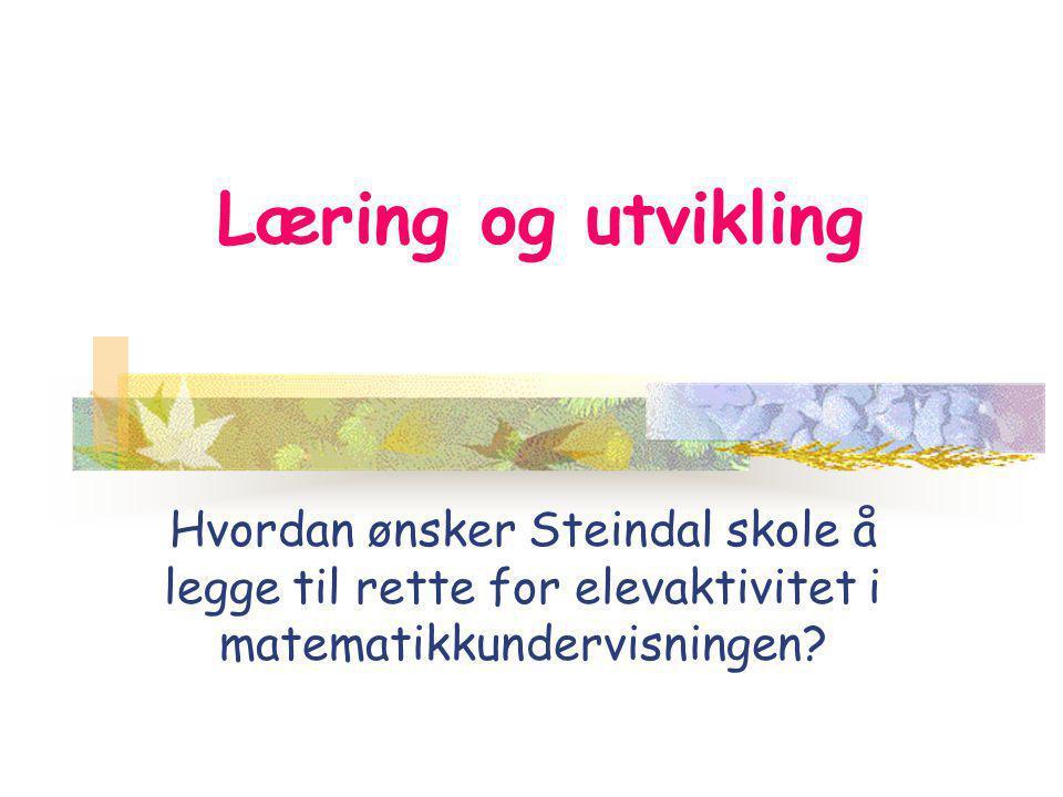 Læring og utvikling Hvordan ønsker Steindal skole å legge til rette for elevaktivitet i matematikkundervisningen