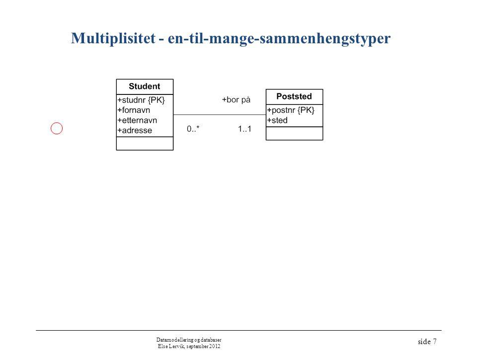 Multiplisitet - en-til-mange-sammenhengstyper