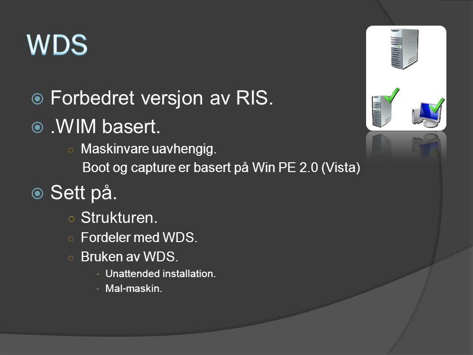 WDS Forbedret versjon av RIS. .WIM basert. Sett på. Strukturen.