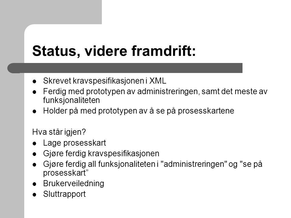 Status, videre framdrift:
