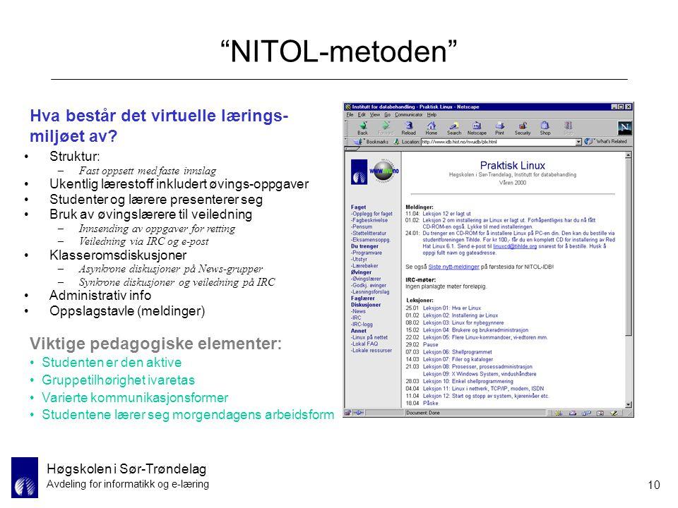 NITOL-metoden Hva består det virtuelle lærings-miljøet av