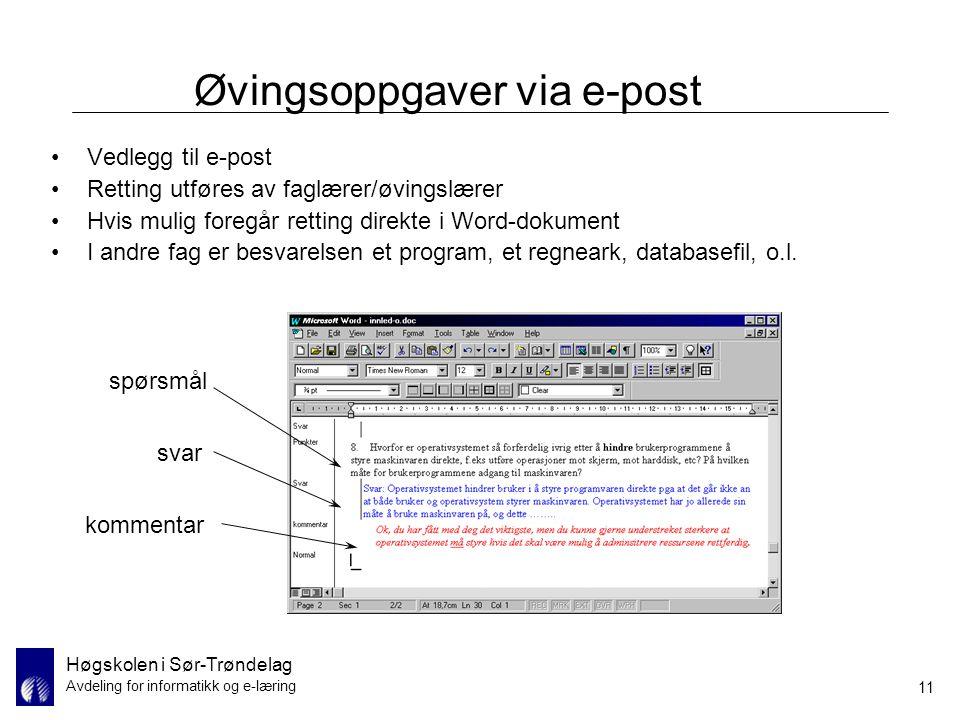 Øvingsoppgaver via e-post