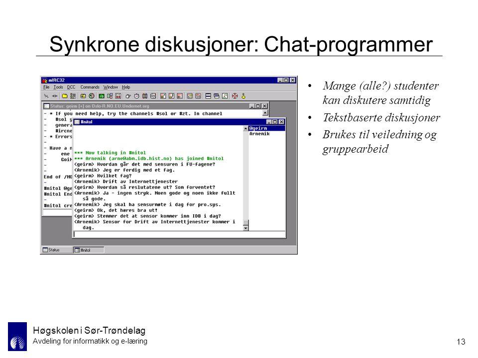Synkrone diskusjoner: Chat-programmer