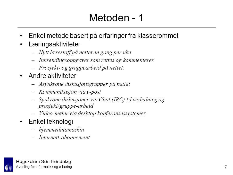 Metoden - 1 Enkel metode basert på erfaringer fra klasserommet