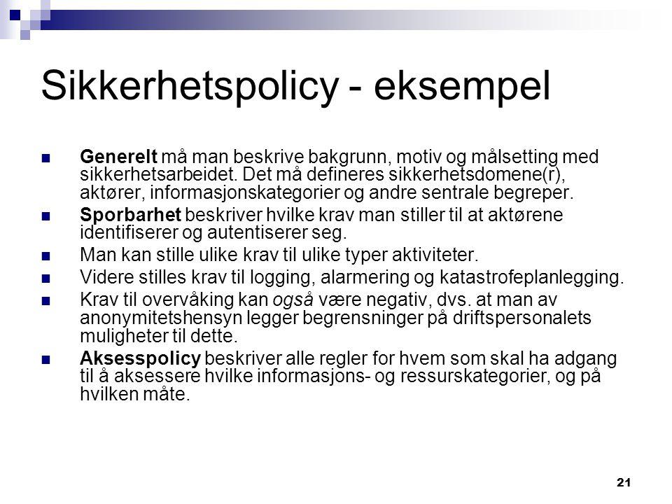 Sikkerhetspolicy - eksempel