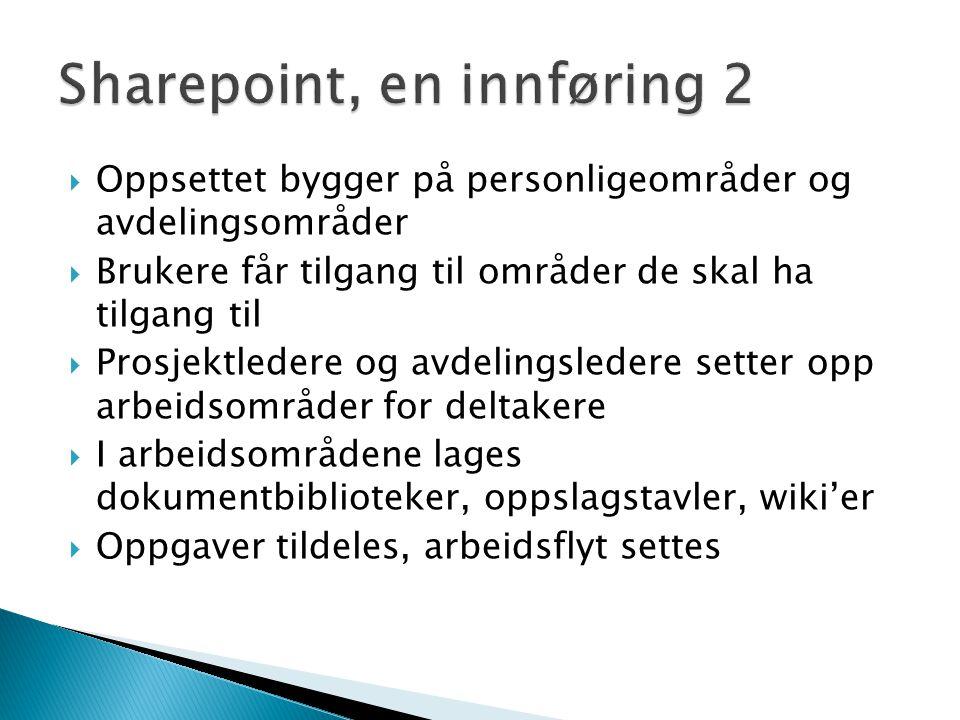 Sharepoint, en innføring 2
