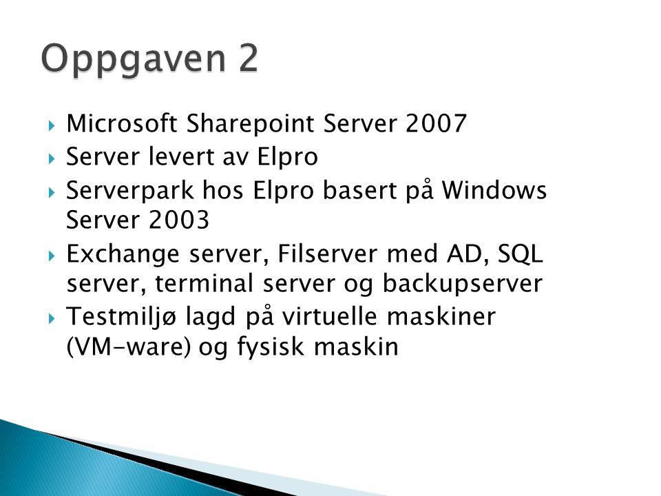 Oppgaven 2 Microsoft Sharepoint Server 2007 Server levert av Elpro