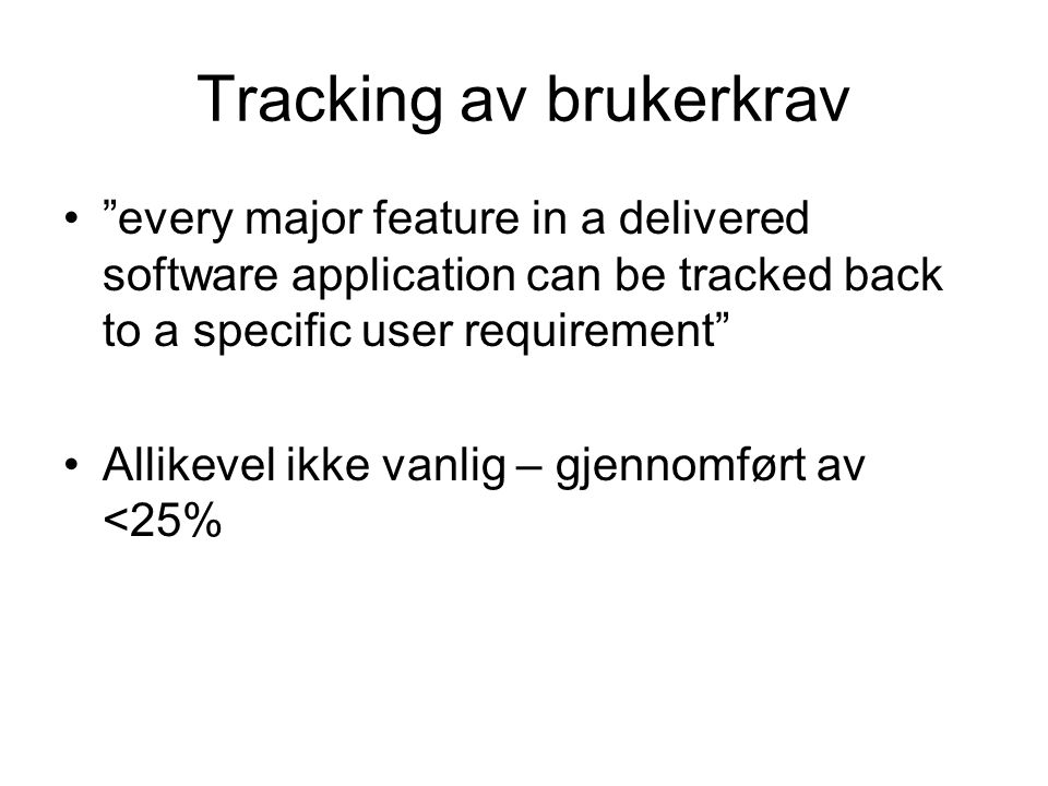 Tracking av brukerkrav
