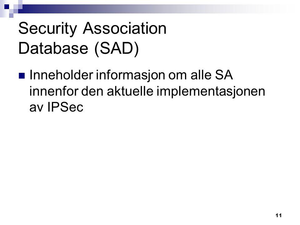 Security Association Database (SAD)