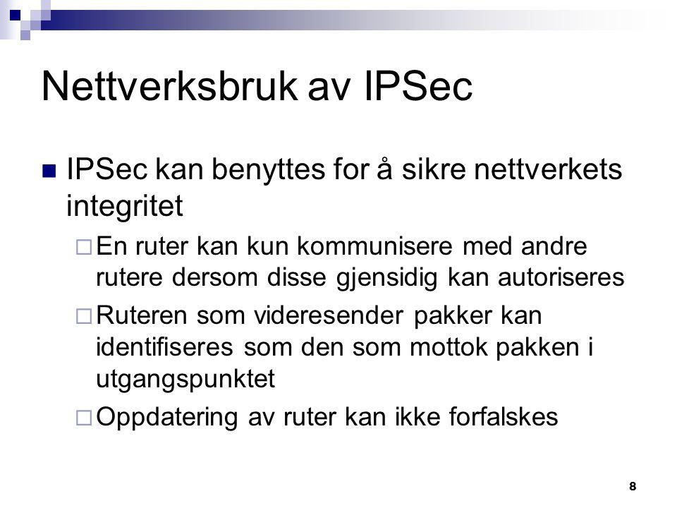 Nettverksbruk av IPSec