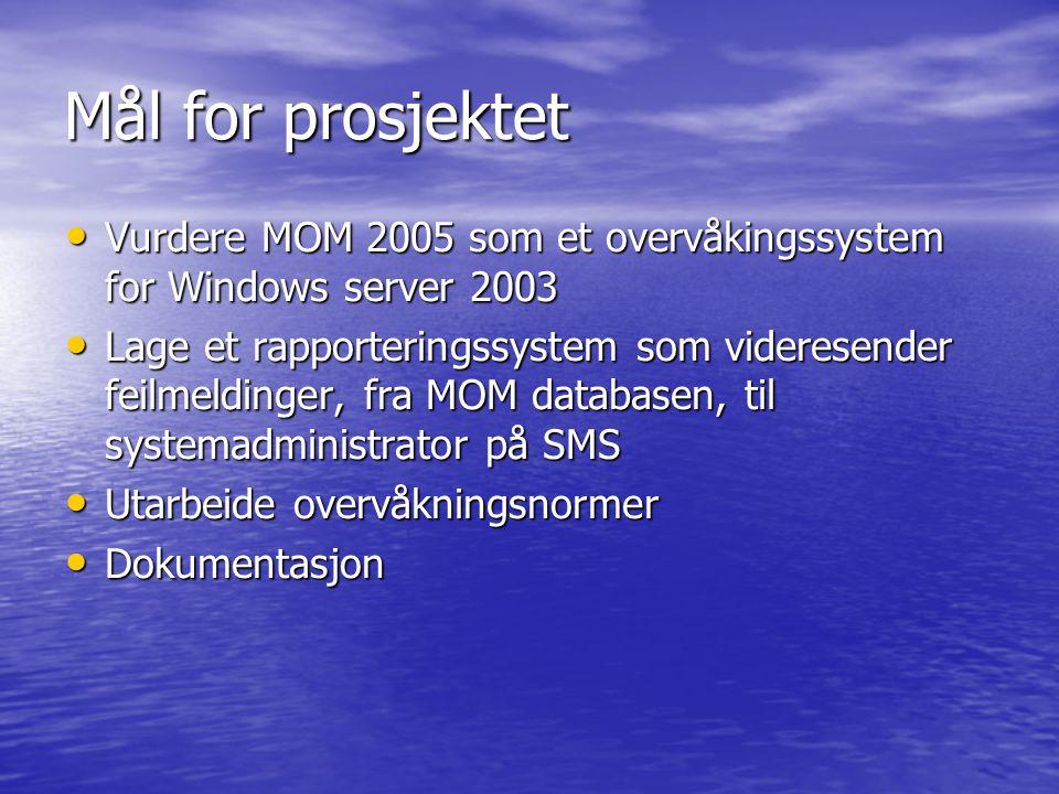 Mål for prosjektet Vurdere MOM 2005 som et overvåkingssystem for Windows server 2003.