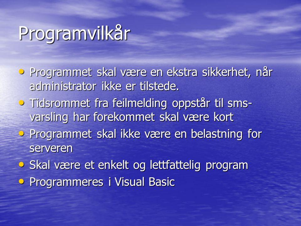 Programvilkår Programmet skal være en ekstra sikkerhet, når administrator ikke er tilstede.