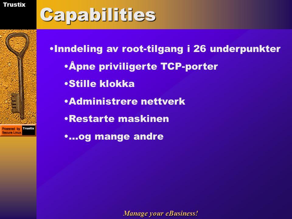 Capabilities Inndeling av root-tilgang i 26 underpunkter