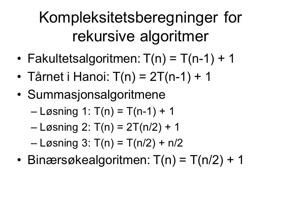 Kompleksitetsberegninger for rekursive algoritmer