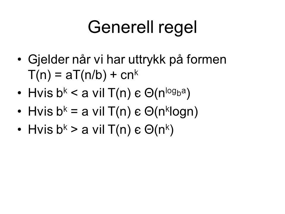Generell regel Gjelder når vi har uttrykk på formen T(n) = aT(n/b) + cnk. Hvis bk < a vil T(n) є Θ(nlogba)