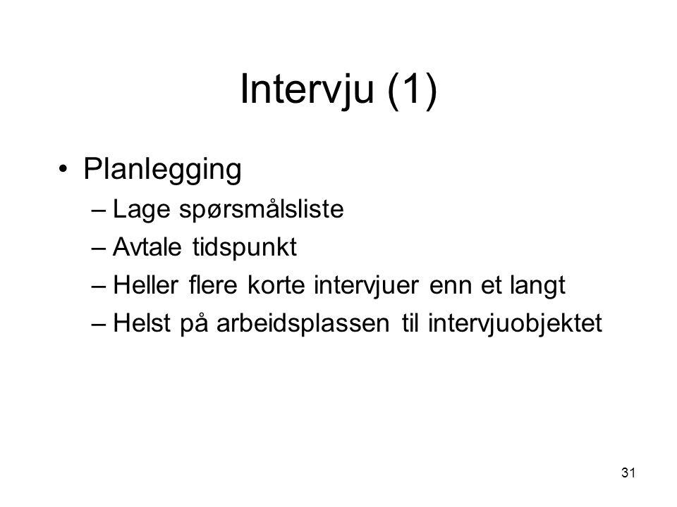 Intervju (1) Planlegging Lage spørsmålsliste Avtale tidspunkt