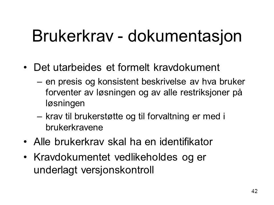 Brukerkrav - dokumentasjon