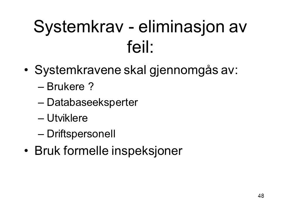 Systemkrav - eliminasjon av feil: