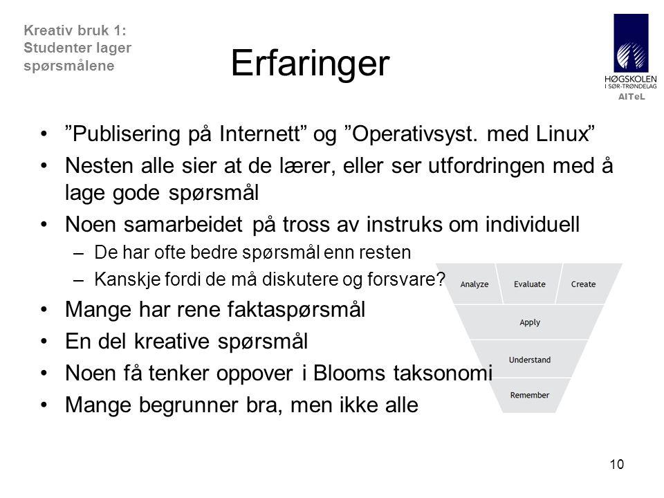 Erfaringer Publisering på Internett og Operativsyst. med Linux