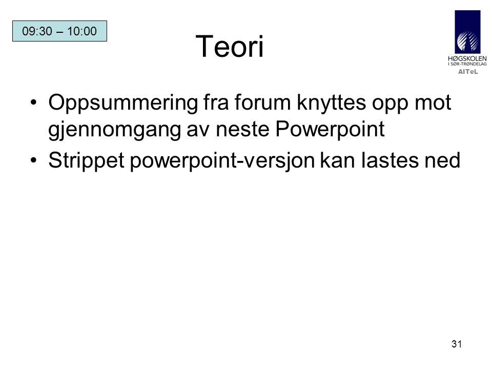 Teori 09:30 – 10:00. Oppsummering fra forum knyttes opp mot gjennomgang av neste Powerpoint.