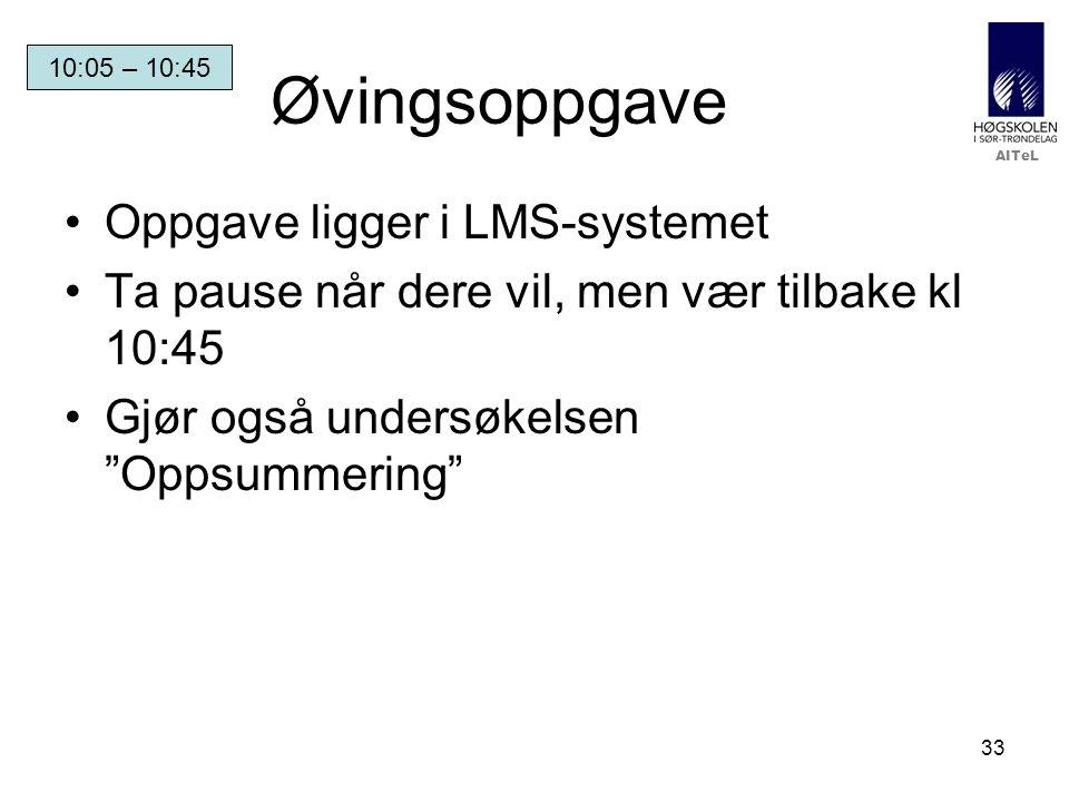 Øvingsoppgave Oppgave ligger i LMS-systemet