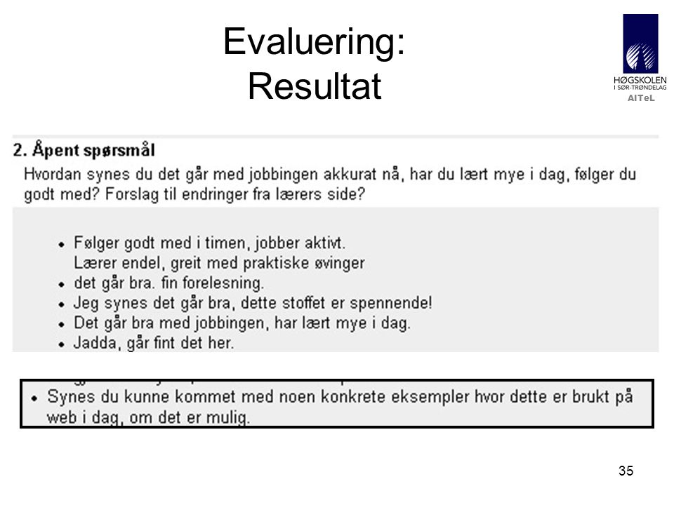 Evaluering: Resultat