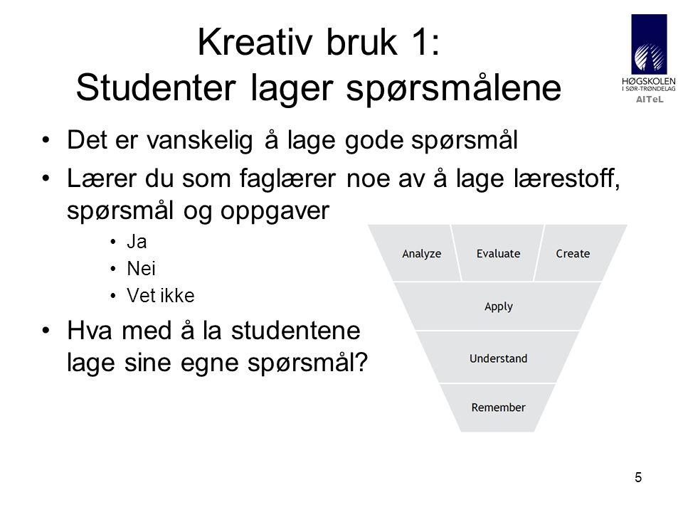 Kreativ bruk 1: Studenter lager spørsmålene