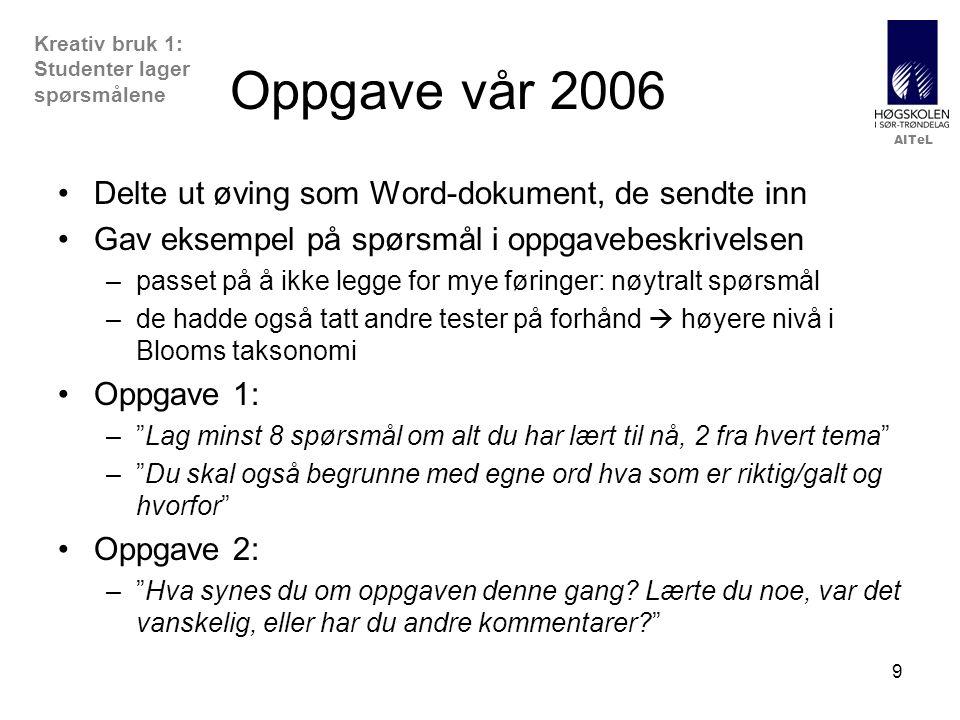 Oppgave vår 2006 Delte ut øving som Word-dokument, de sendte inn