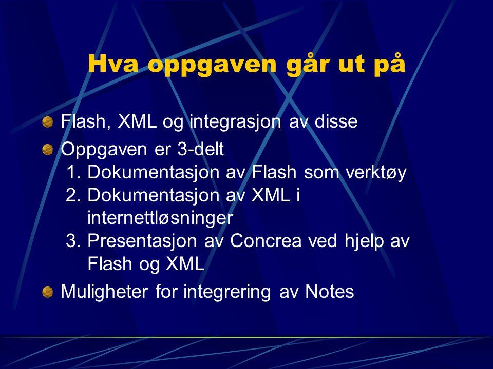 Hva oppgaven går ut på Flash, XML og integrasjon av disse