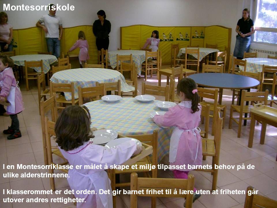 Montesorriskole I en Montesorriklasse er målet å skape et miljø tilpasset barnets behov på de ulike alderstrinnene.